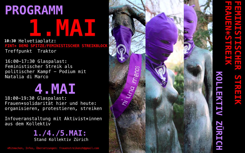 """Kollage von Fotografien von drei Statuen die alle violette Pussy-.Riot-Hauen anhaben mit Spruchbändern auf denen steht """"Ni Una Menos"""". Links davon eine Zusammenstellung des Programms am 1. Mai (siehe Beitrag) rechts davon der Titel Frauen*streik, Feministischer Streik  Kollektiv Zürich"""