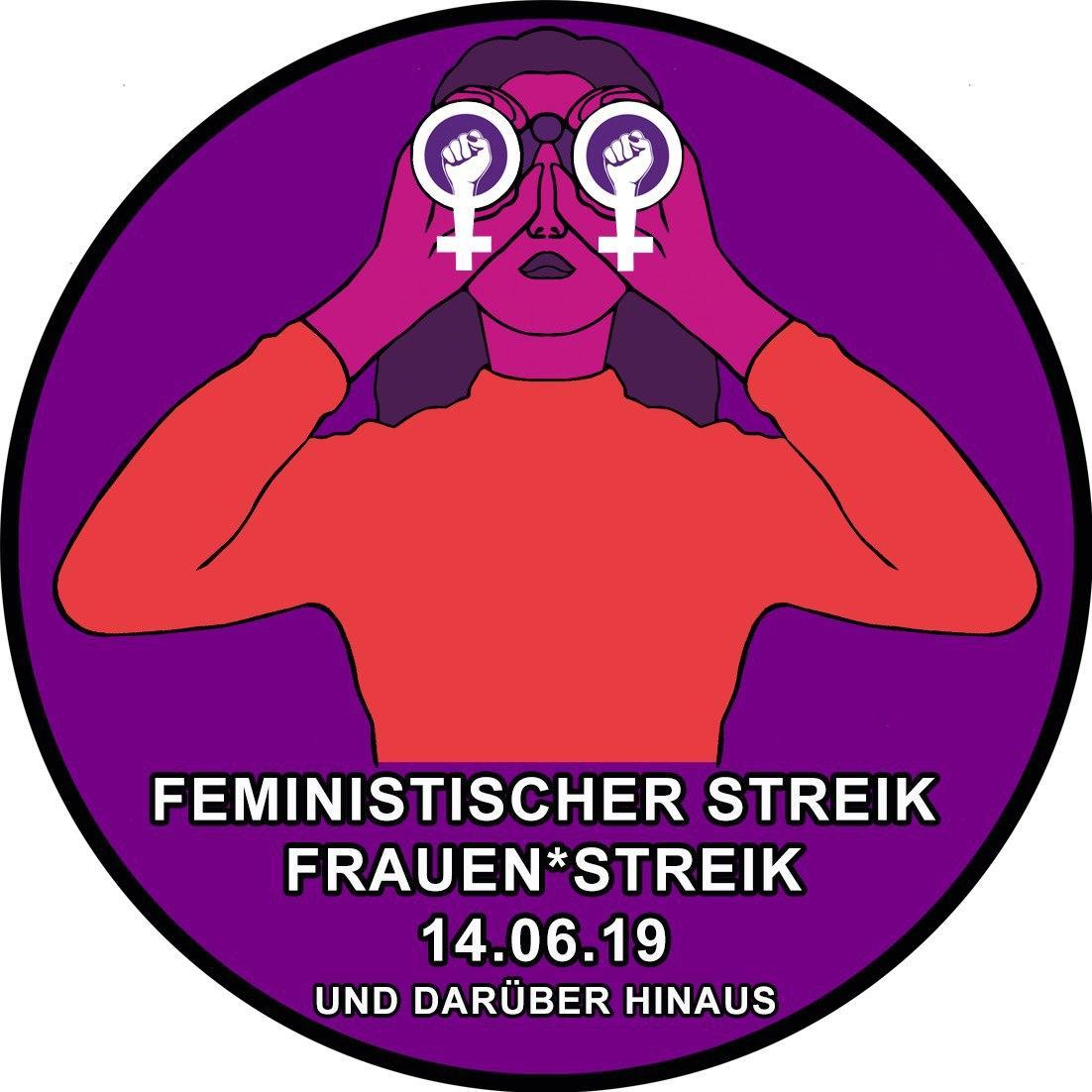 """Logo des Frauen*streikkollektiv Zürich, rund, mit Text """"Feministischer Streik Frauen*streik 14.06.19 und darüber hinaus"""""""