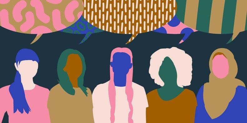 Grafik mit verschiedenen Frauen* und vielen verschieden gemusterte Sprechblasen