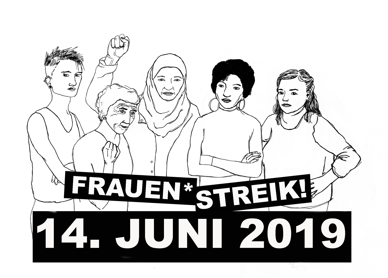 Weiteres Logo des Frauen*streiks in Zürich. fünf Weiblichkeiten die zusammenstehen darunter steht Frauen*streik 14. Juni 2019 in weiss auf schwarz
