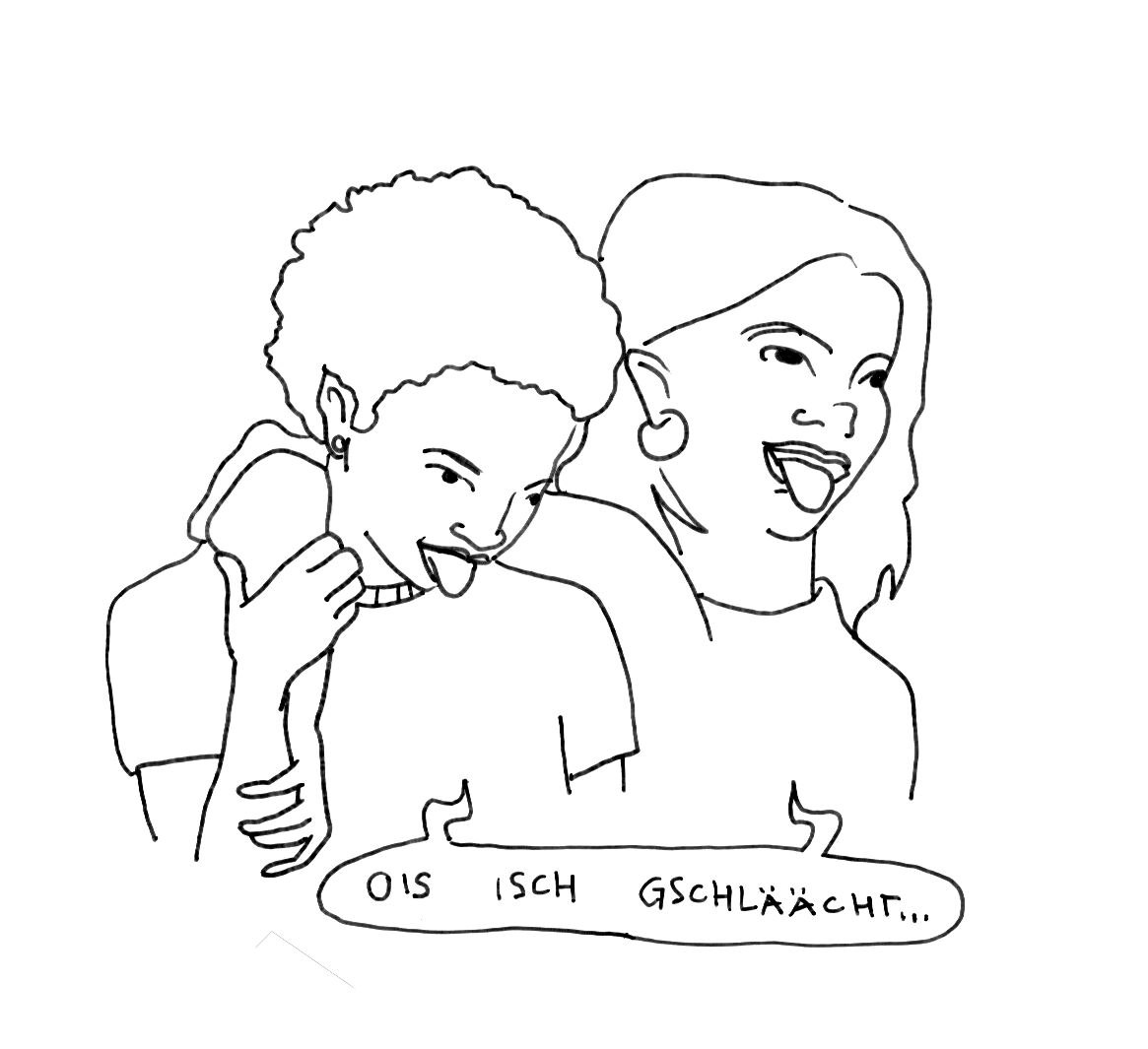 """ein Logo des feministischen Streikkollektivs an den Hochschulen. Zeichnung zweir Frauen, die ihre Zungen rausstrecken. Darunter eine Sprechblase """"ois isch gschlächt"""""""