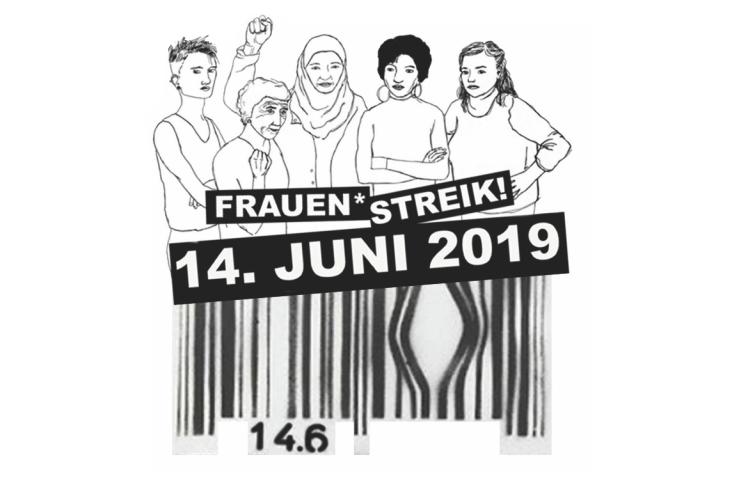 Eine Kombination des Zürcher Frauenstreiklogos mit den fünf Frauen und einem Bar-Code