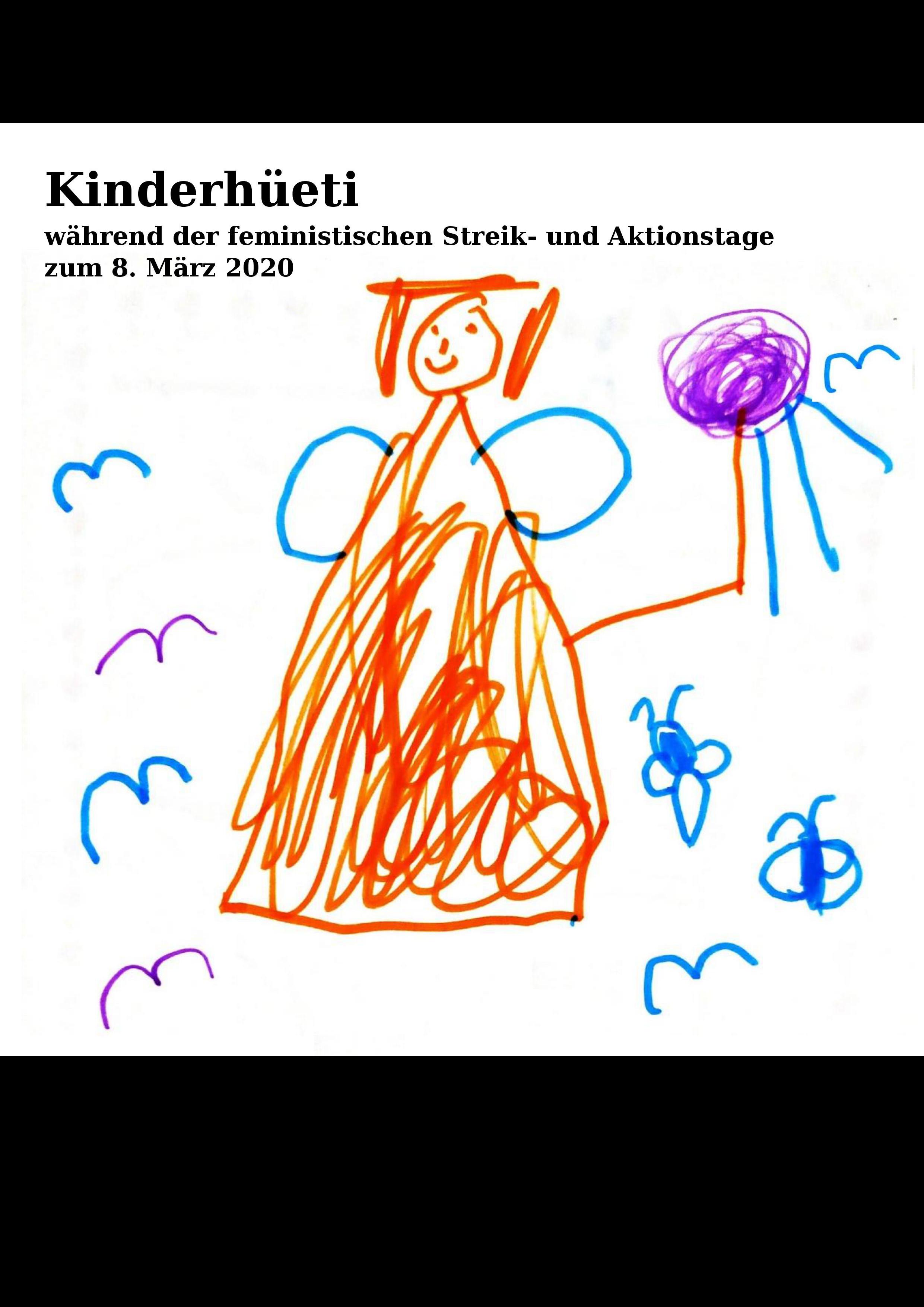 Flyerbild zur Kinderhüeti am 8. März, Kinderzeichnung einer Orangen Figur mit Flügel und Vögel ringsherum