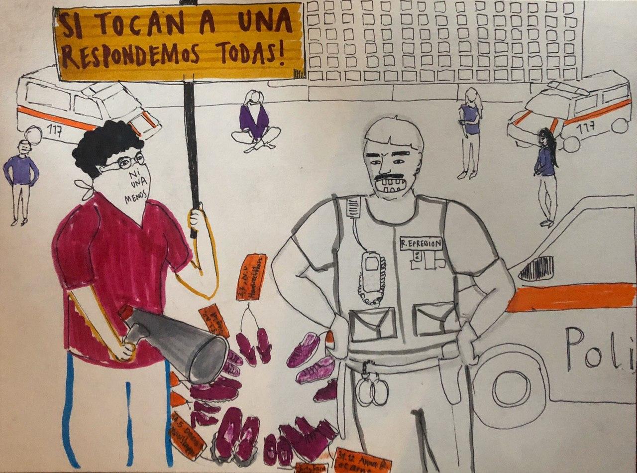 Zeichnung einer protestierenden Person auf dem Ni Una Menos Platz die von der Polizei gestört wird