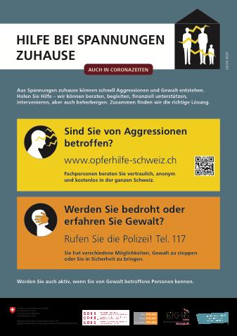 Plakat des eidgenösischen Büros für Gleichstellung mit wenigen Informationen gegen häusliche Gewalt
