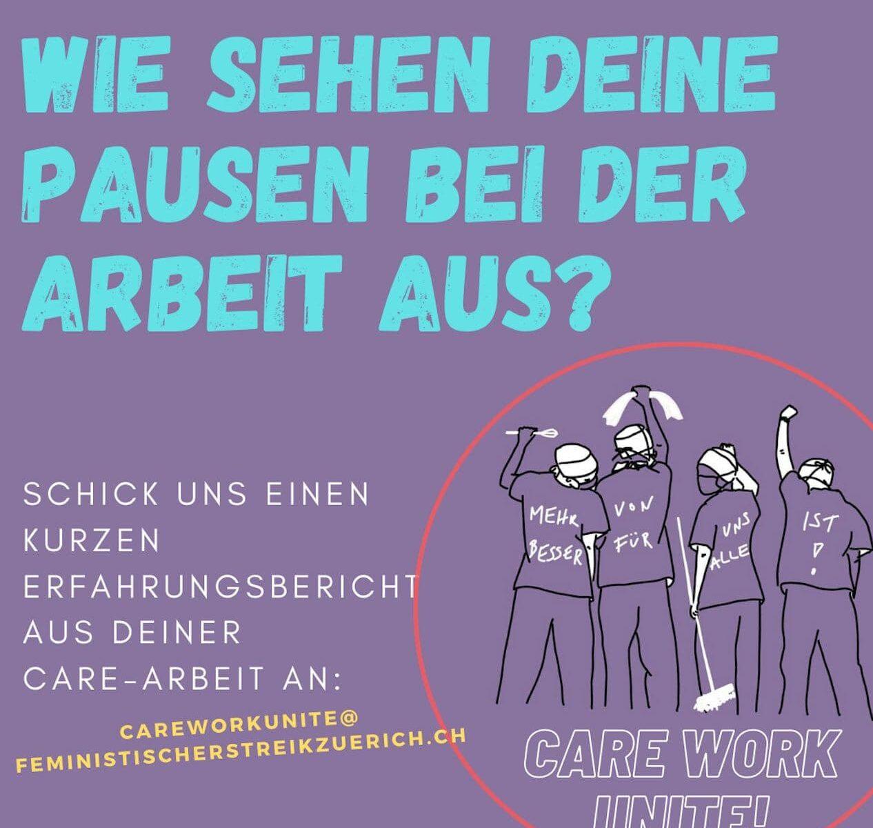"""Violettes Bild mit Care Worker*innen, betitelt mit """"Wie sehen deine Pausen bei der Arbeit aus?"""""""