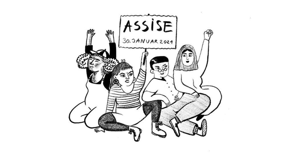 """ein schwarz weiss gezeichnetes Bild von vier FTIQs die nebeneinander sitzen. Fäuste und Hände jubelnd hochhalten, eine Person hätl ein SChild hoch auf dem steht """"Assise 30. Januar 2021"""""""