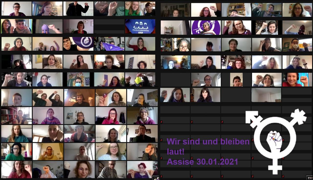 """ganz viele kleine vierecke mit Fotos der teilnehmenden an der Assise und dem Satz """"Wir sind und bleiben laut! Assise 30.01.2021"""""""
