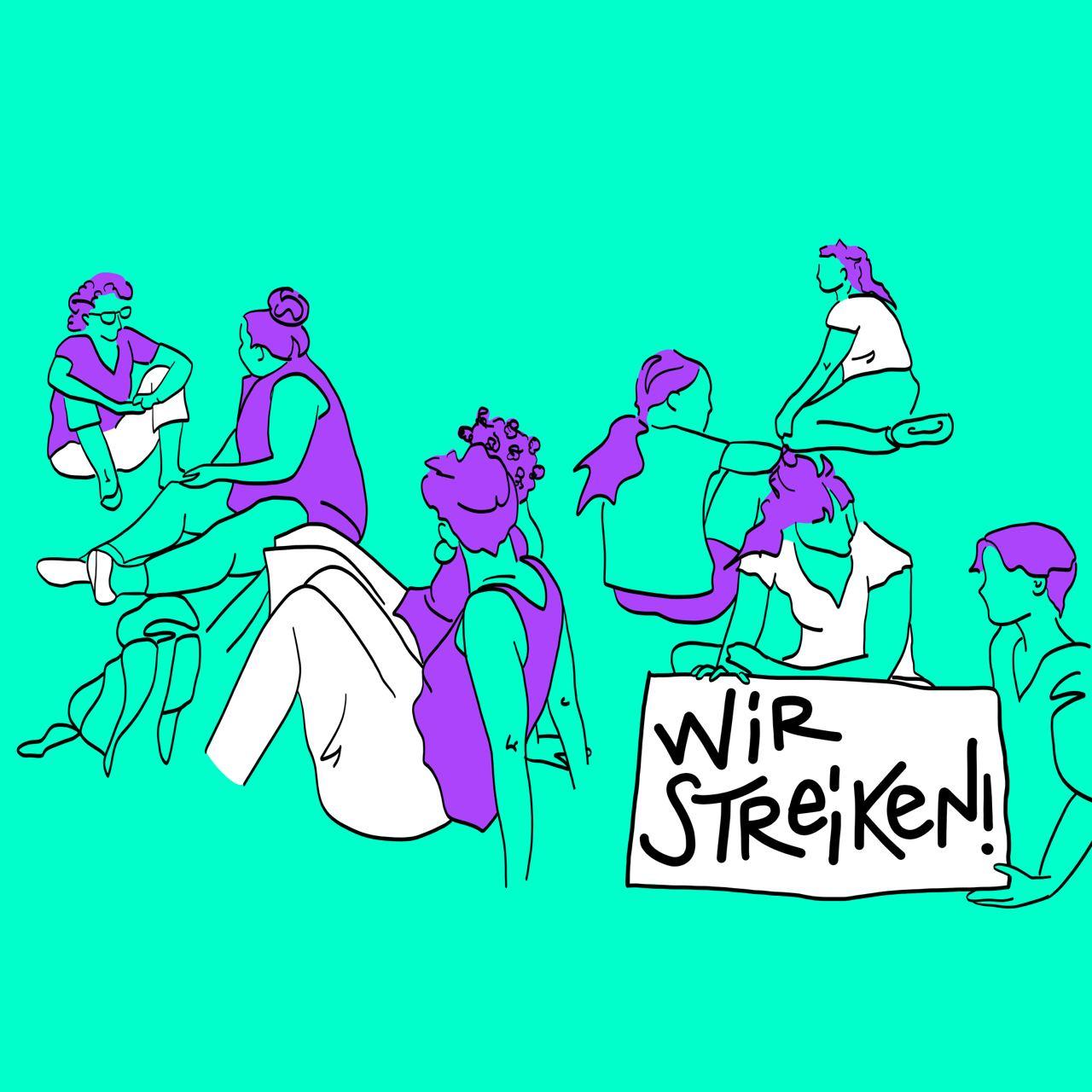 """auf türkisem HIntergrund sitzen verschiedene Figuren in Grüpchen tragen violette und weisse Klidung, haben violette haare und unten rechts hält eine Person ein weisses Schild, auf dem steht in schwarz """"wir streiken!"""""""