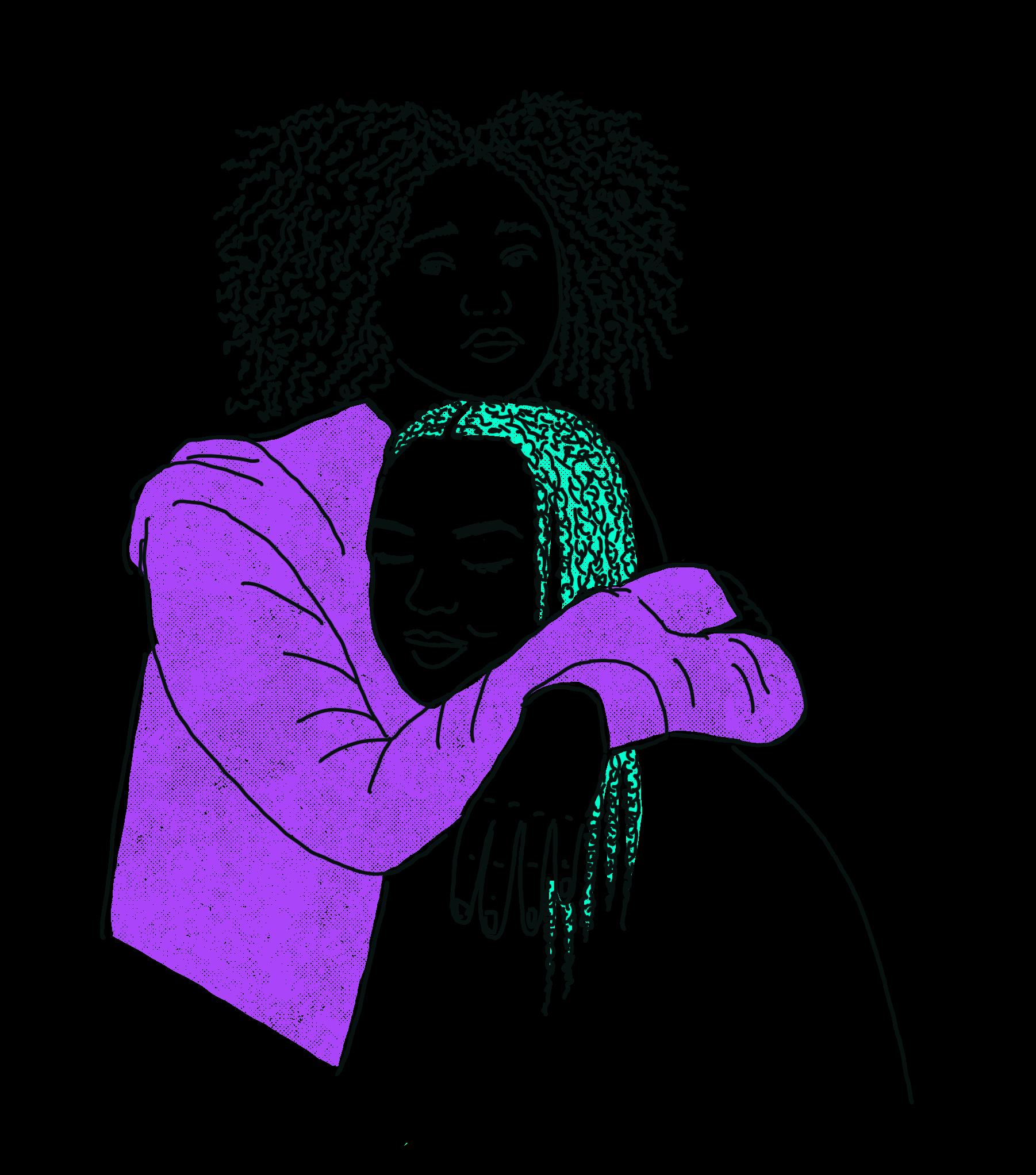 gezeichnet, eine Person mit locken udn violettem Kapuzenjäckchen hat eine person mit türkisen braids im Arm