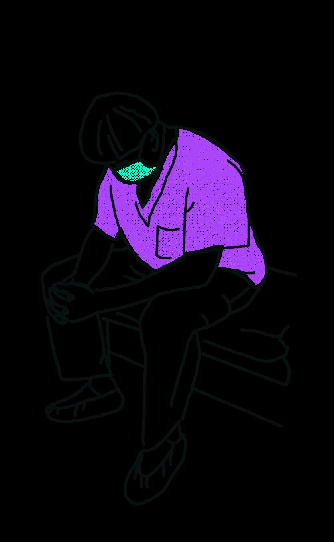 gezeichnet: eine arbeitende aus dem Gesundheitsbereich in violettem Schlupfkasack und türkiser Maske ruht sich sitzend aus