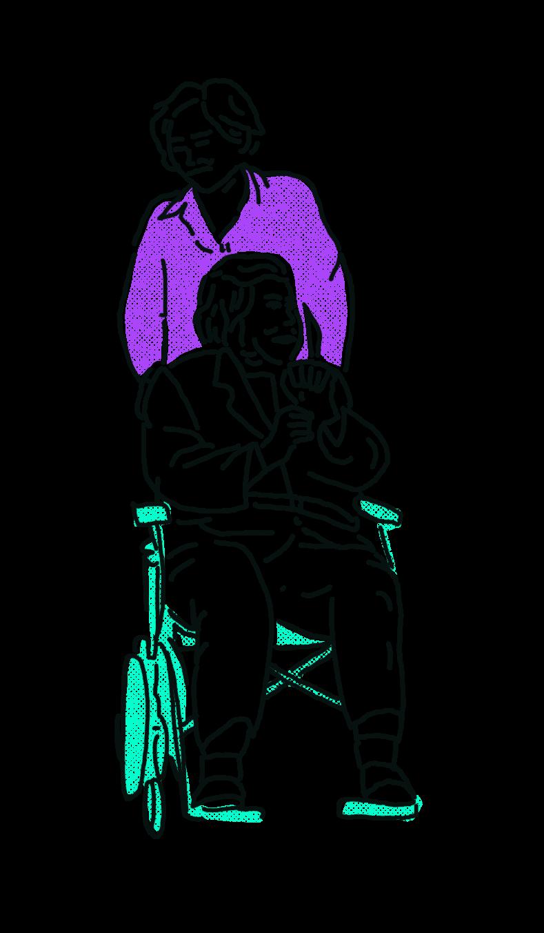 gezeichnt: eine Person in violetter Bluse schiebt eine ältere Person in einem türkisen Rollstuhl