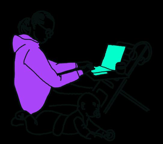 gezeichnet: Person in vilettem Kapuzenpulli arbeitet im Homeoffice an einem türkisen Laptop auf eine Stuhl, daneben krabbelt ein Baby, die arbeitende Person schaut auf's Baby