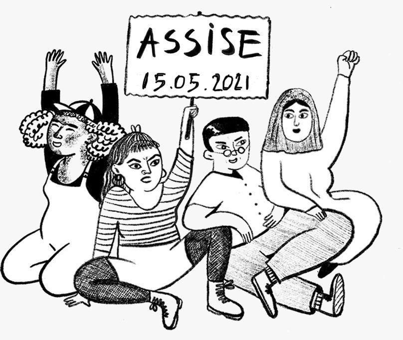 """Vier gezeichnete Personen welche sitzen entweder die Hände oder eine Faust hochhalten. Eine Person hält ein Schild mit den Worten """"Assise 15.05.2021"""" hoch."""