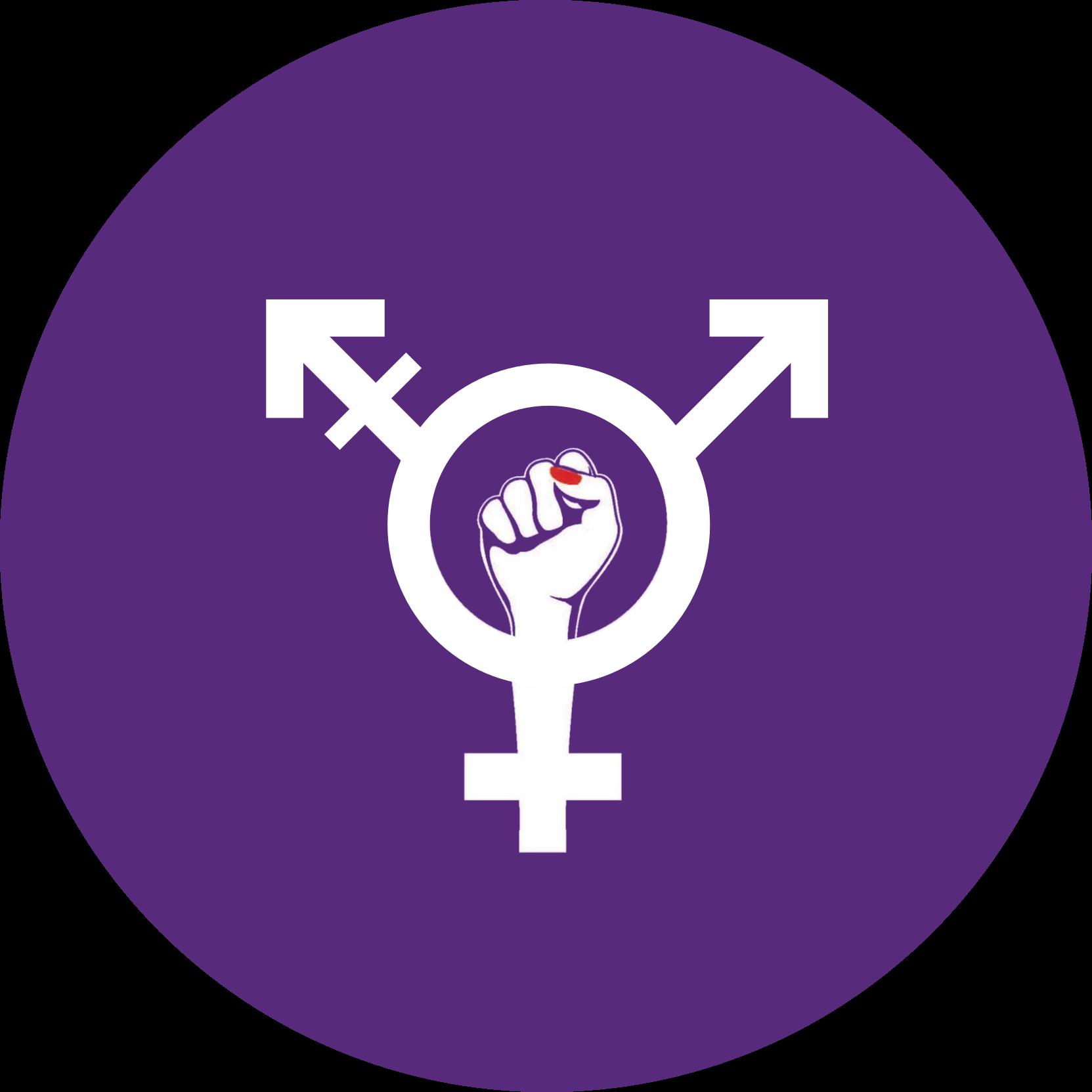 intersektionales feministisches Symbol mit der Faust mit dem rot lackierten Daumennagel in der Mitte auf violettem Hintergrund