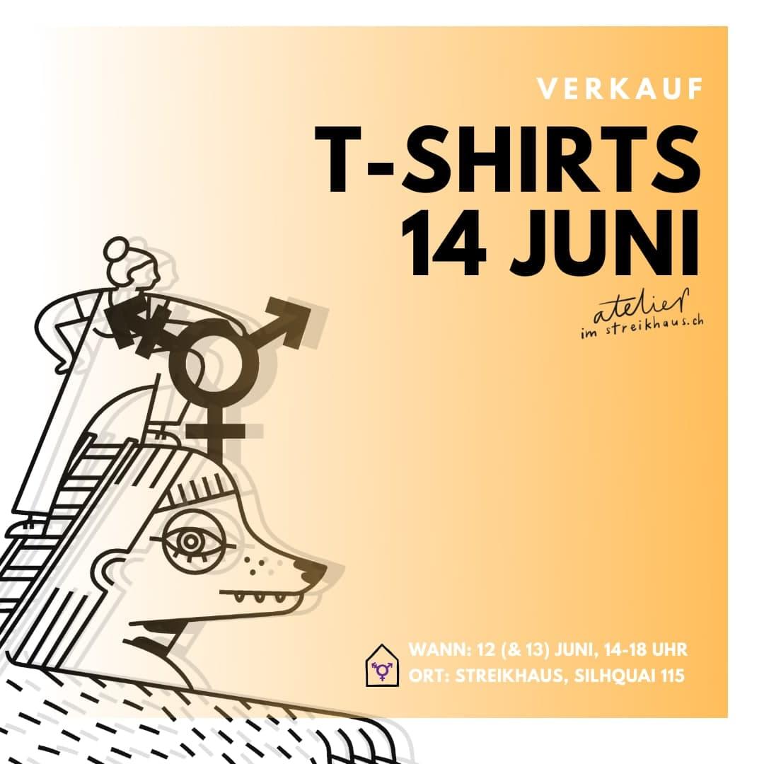 """Weiss zu Orange verlaufender Hintergrund. Titel: """"Verkauf Tshirt 14. Juni Atelier im Streikhaus"""". Ein Logo in der linken Ecke. In der rechten Ecke die Daten."""
