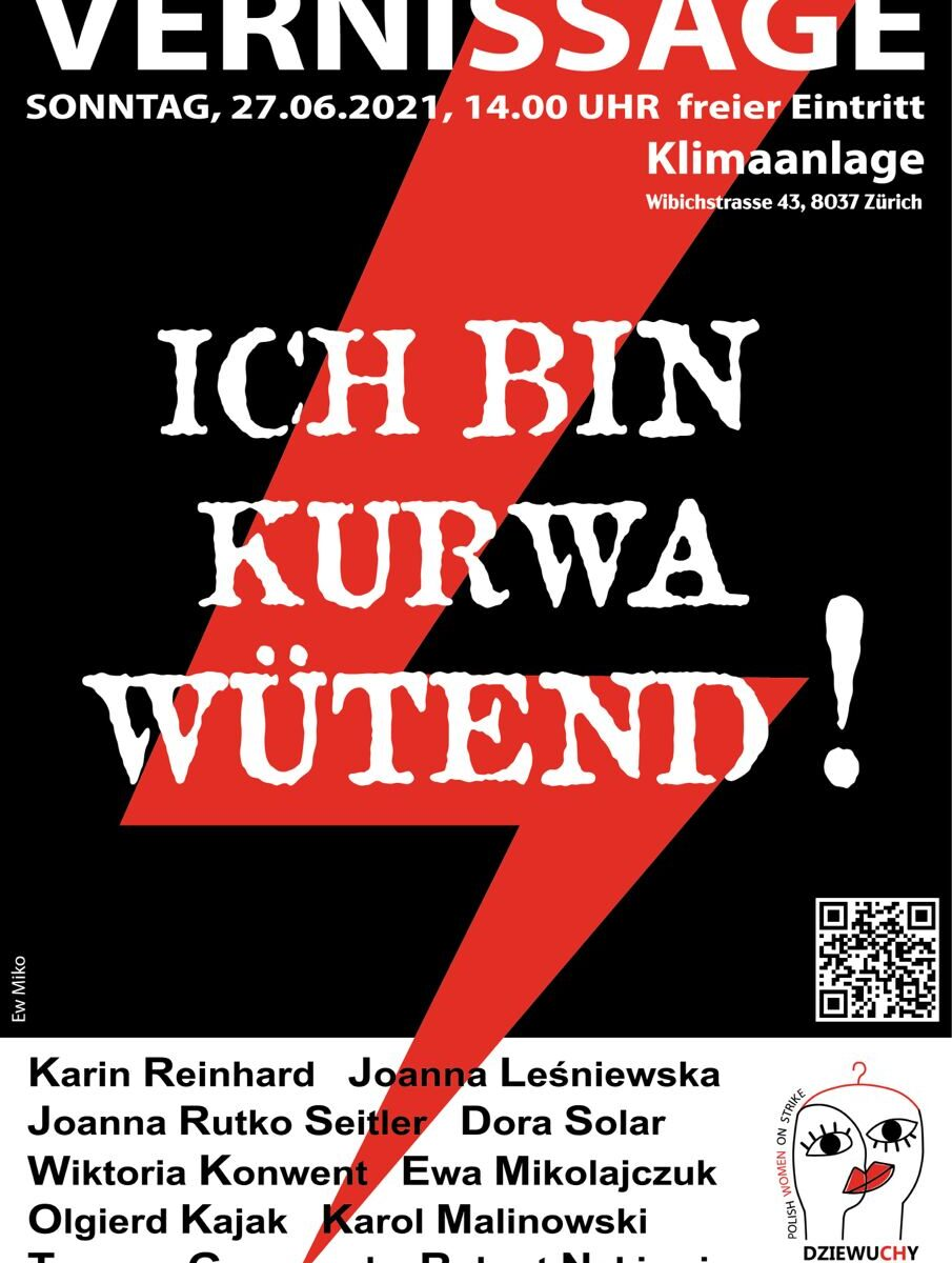 auf schwarzem Hintergrund mit einem roten Blitz stehen in weiss die Informationen zur Veranstaltung und darunter dei Namen der Künstler*innen und das Logo von Dziewuchy Szwajcaria polish Women on Strike
