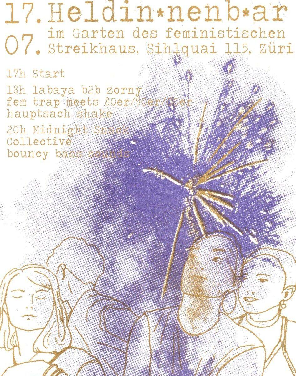 fein mit gold gezeichnete Figuren und ein gold violettes Feuerwerk und mit typischer Typewriter Schrift geschriebener Text zur Heldin*nenb*ar, siehe Veranstaltungstext
