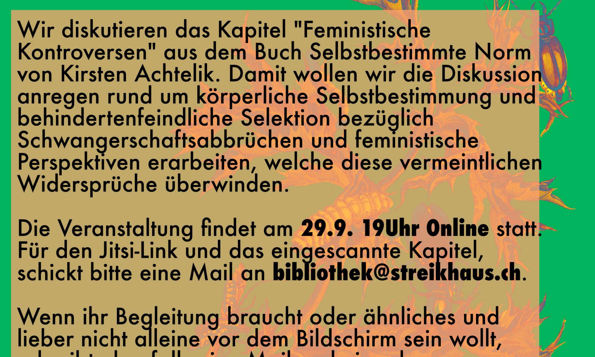 Flyer zur Veranstaltung (Text siehe Veranstaltung). Der Text ist auf einem orangen durchscheinenden Rechteck dahinter ist eine orang-rote Blume auf knallgrünem Hintergrund. Darüber steht auf orangem HIntergrund der Titel
