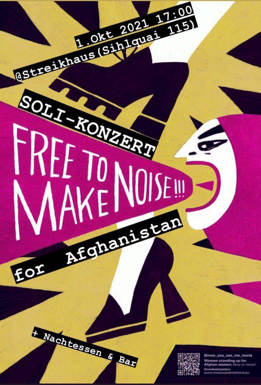 """Illustration wie ein schwarzer Schuh auf die pinke Sprechblase einer Person tritt, unter der Sprechblase ein Highheel. In der Sprechblase steht """"free to make noise!!!"""", verteilt über das ganze bild stehen das Datum und """"Soli-Konzert for Afghanistan"""""""