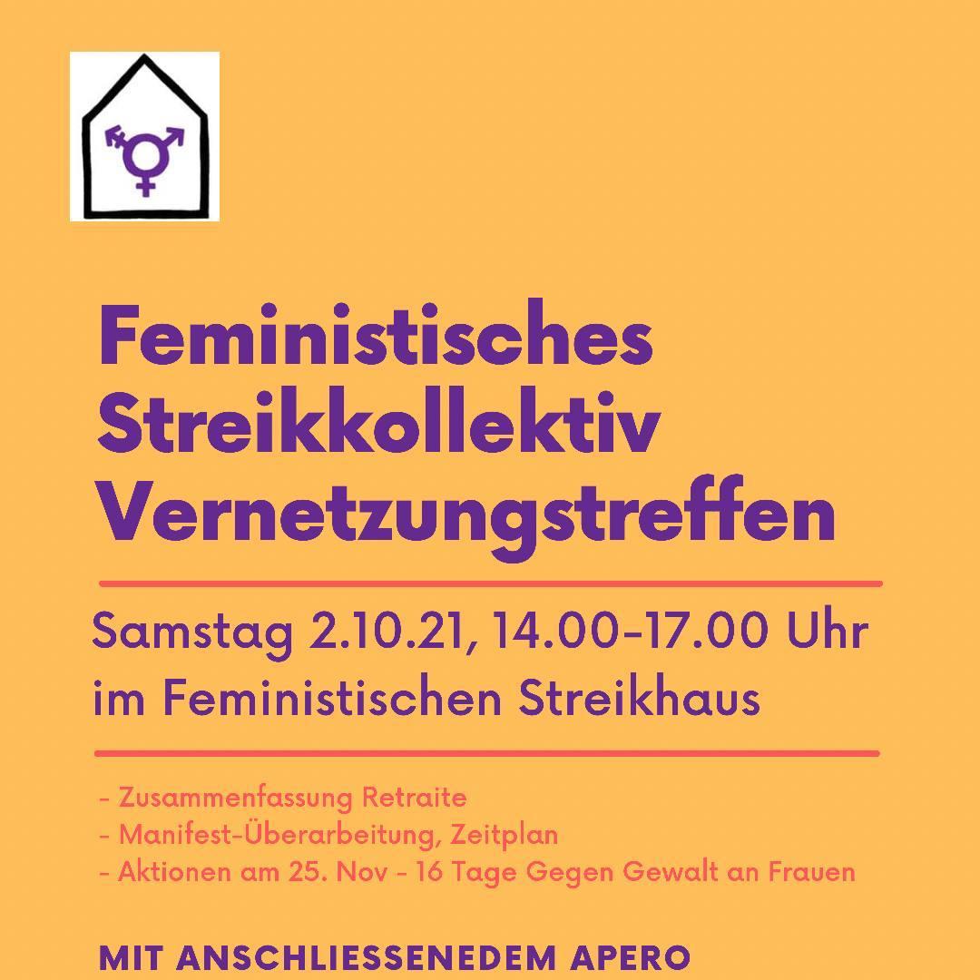 auf gelb orangem HIntergrund stehnn in violett und schwarz die Informationen zum Vernetzungstreffen, siehe Veranstaltung. oben links ist das Logo des Streikhauses (ein stilisierts Haus mit den intersektionellen feministischen Symbol.